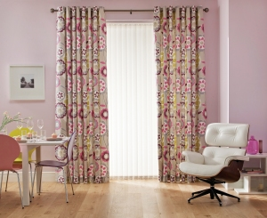 Perrin White Verticals with Fairground Candy Curtains from Hillarys on A Passion for Homes