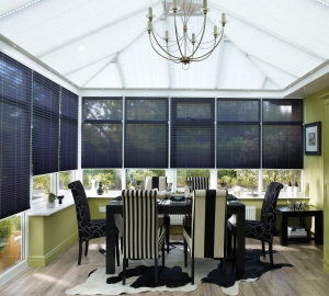 Kudos Mist roof with Messina Black Pleated sides from Hillarys on A Passion for Homes