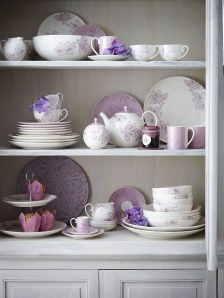 Debenhams purple crockery on A Passion for Homes