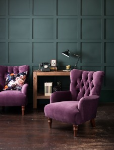 marksandspencer purple statement chairs and charcoal wall